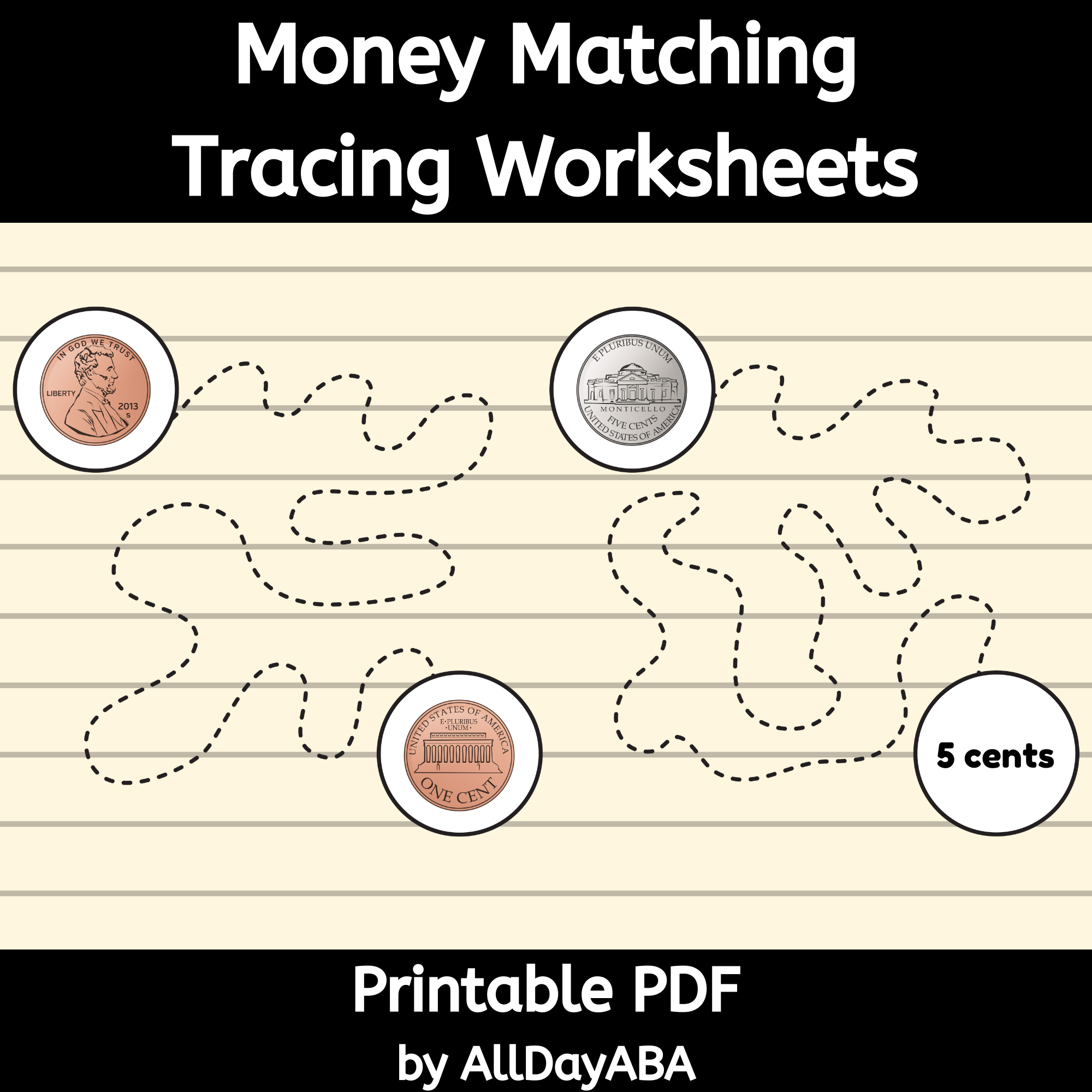 Money Matching Tracing Worksheets - Identifying Coins And