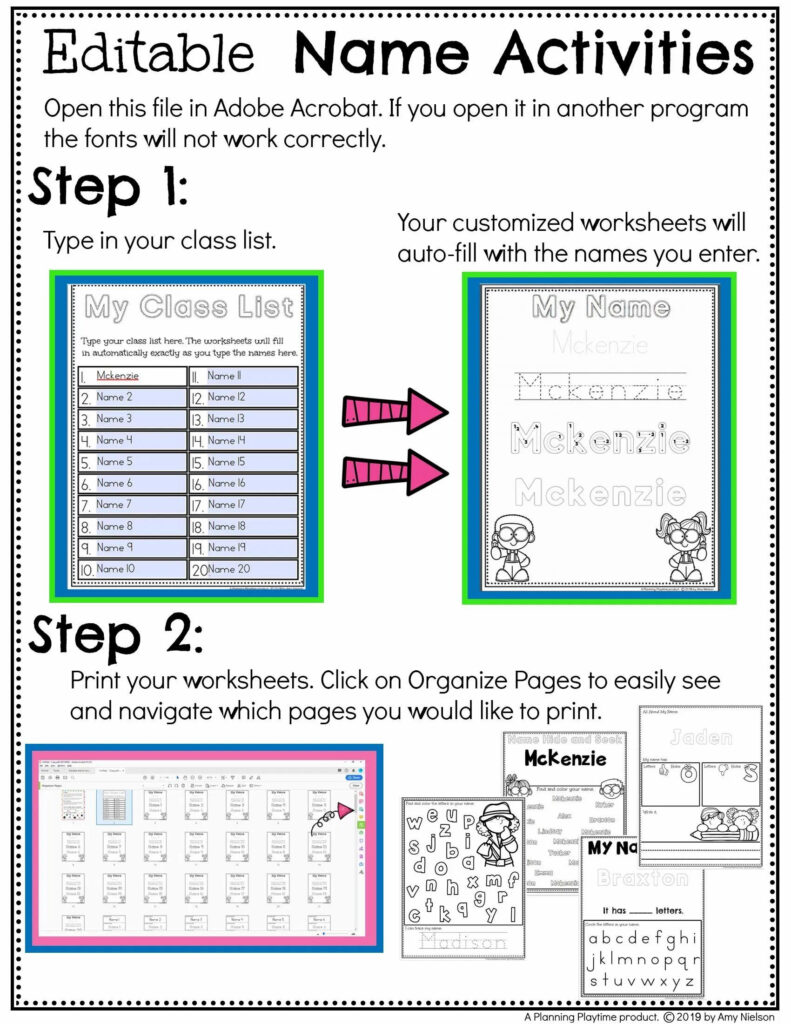 Name Tracing Worksheets And Activities   Editable Inside Name Tracing Editable