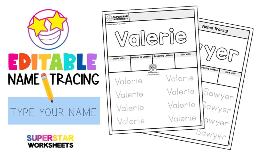 Name Tracing Worksheets   Superstar Worksheets For Name Tracing Editable