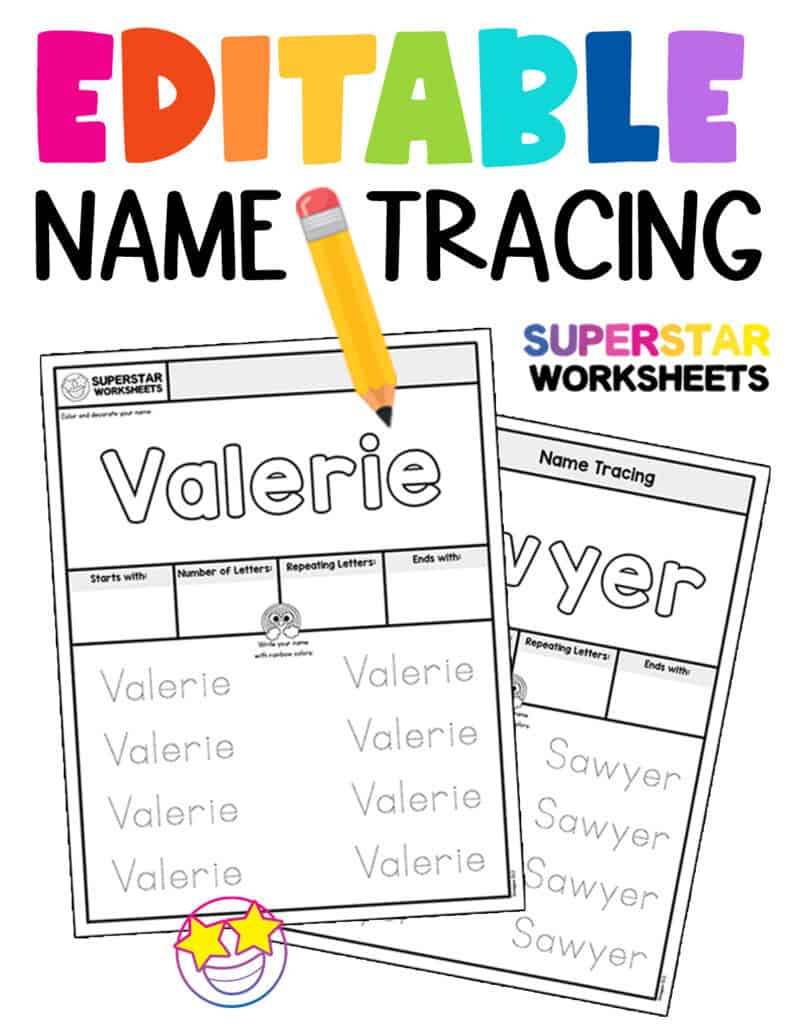 Name Tracing Worksheets - Superstar Worksheets with Name Tracing Editable