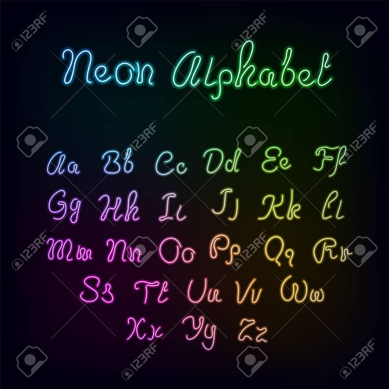 Neon Rainbow Color Glow Alphabet., Vector Realistic Color Dodge..