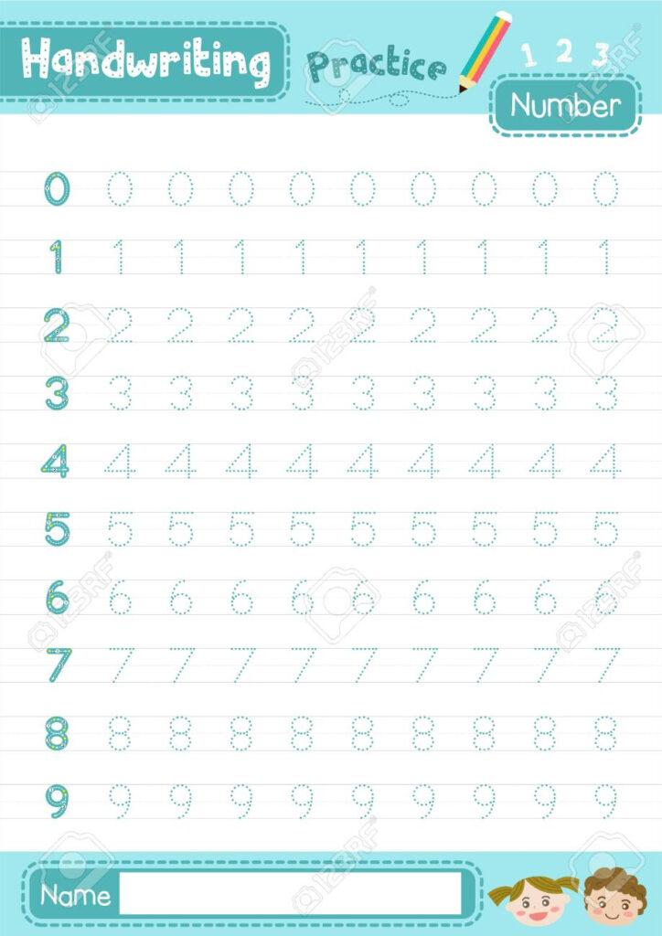 Number 0 10 Handwriting Practice Worksheet For Preschool Kids..