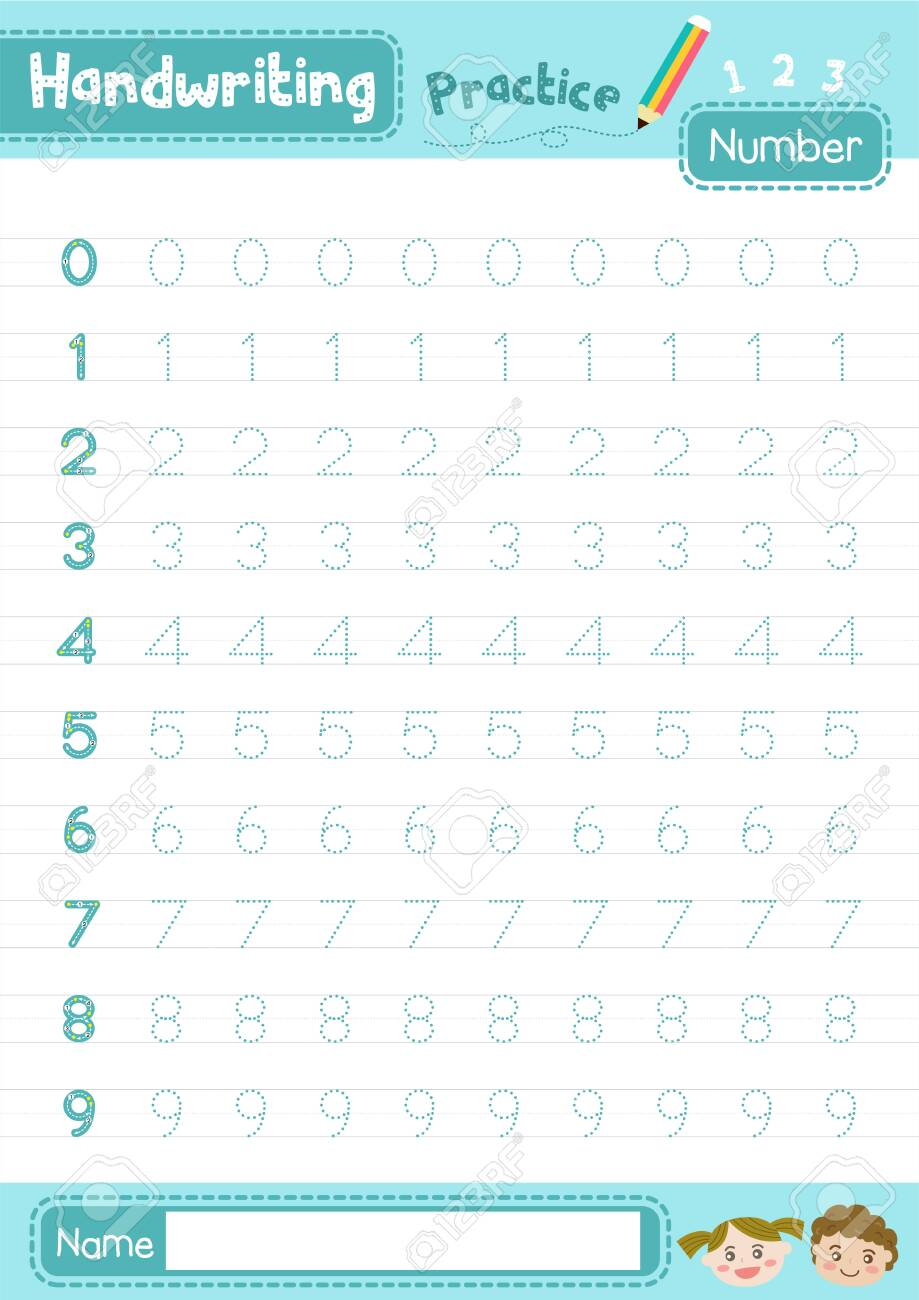 Number 0-10 Handwriting Practice Worksheet For Preschool Kids..