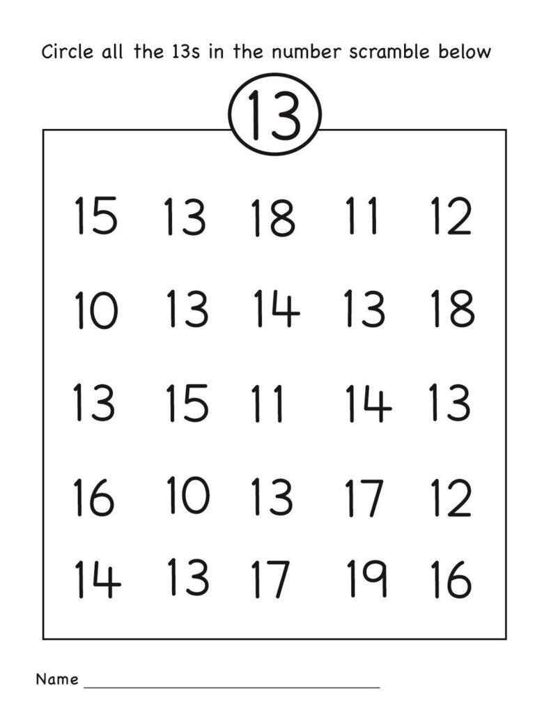 Number 13 Worksheet Circle | Numbers Preschool, Preschool