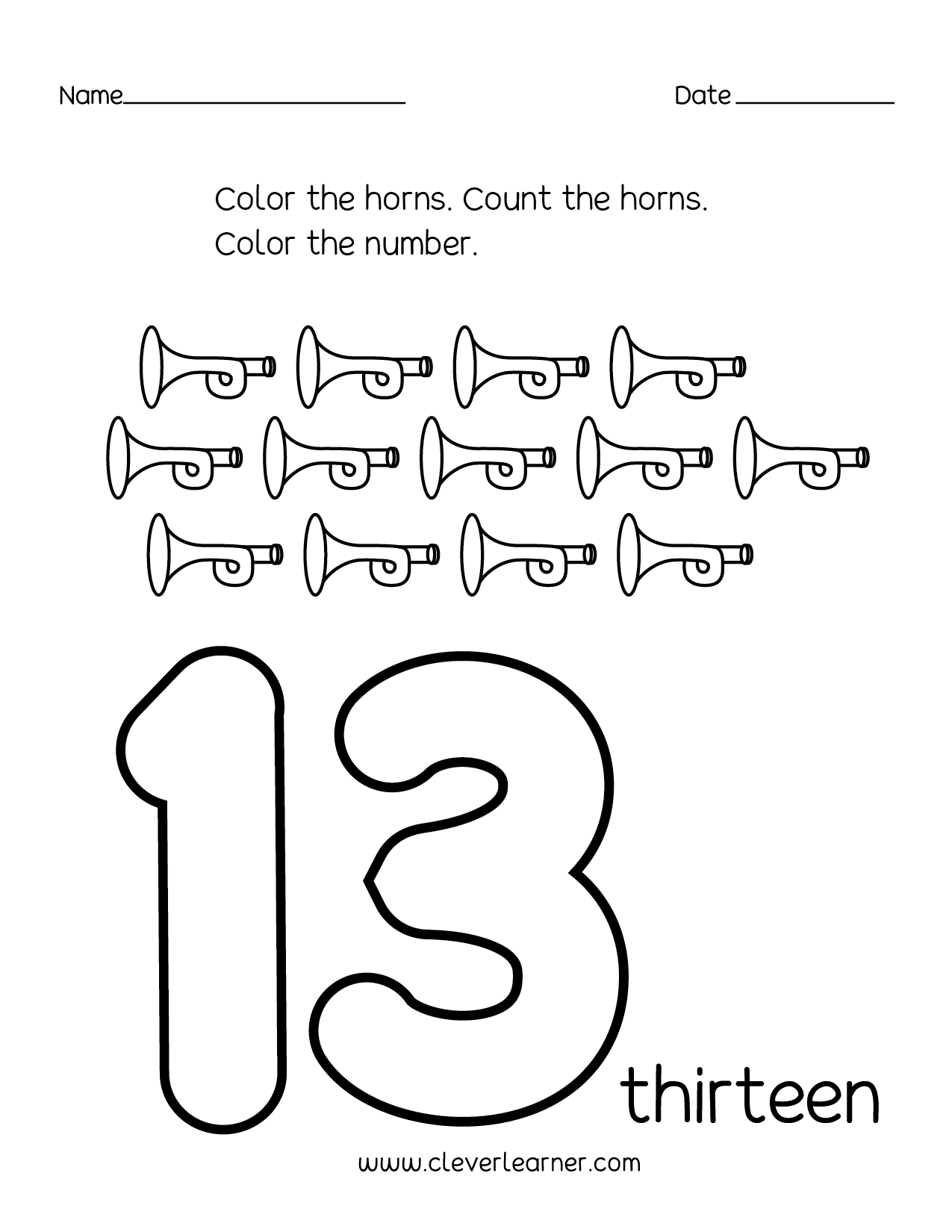 Number 13 Writing, Counting And Identification Printable