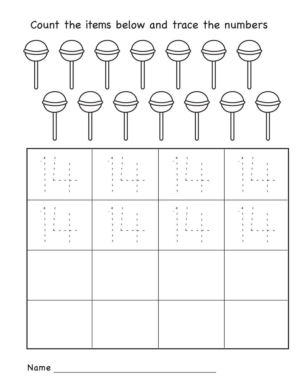 Number 14 Worksheets For Pre K In 2020 | Kindergarten