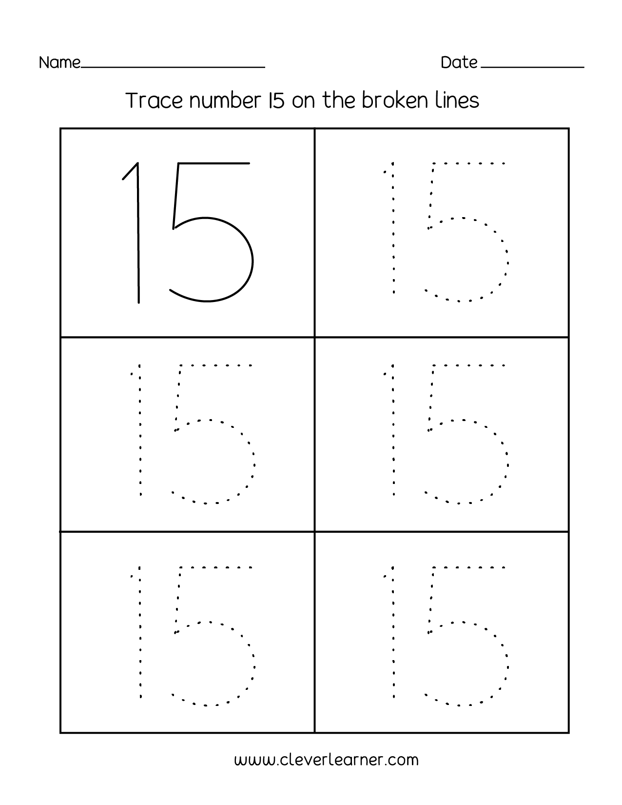 Number 15 Writing, Counting And Identification Printable