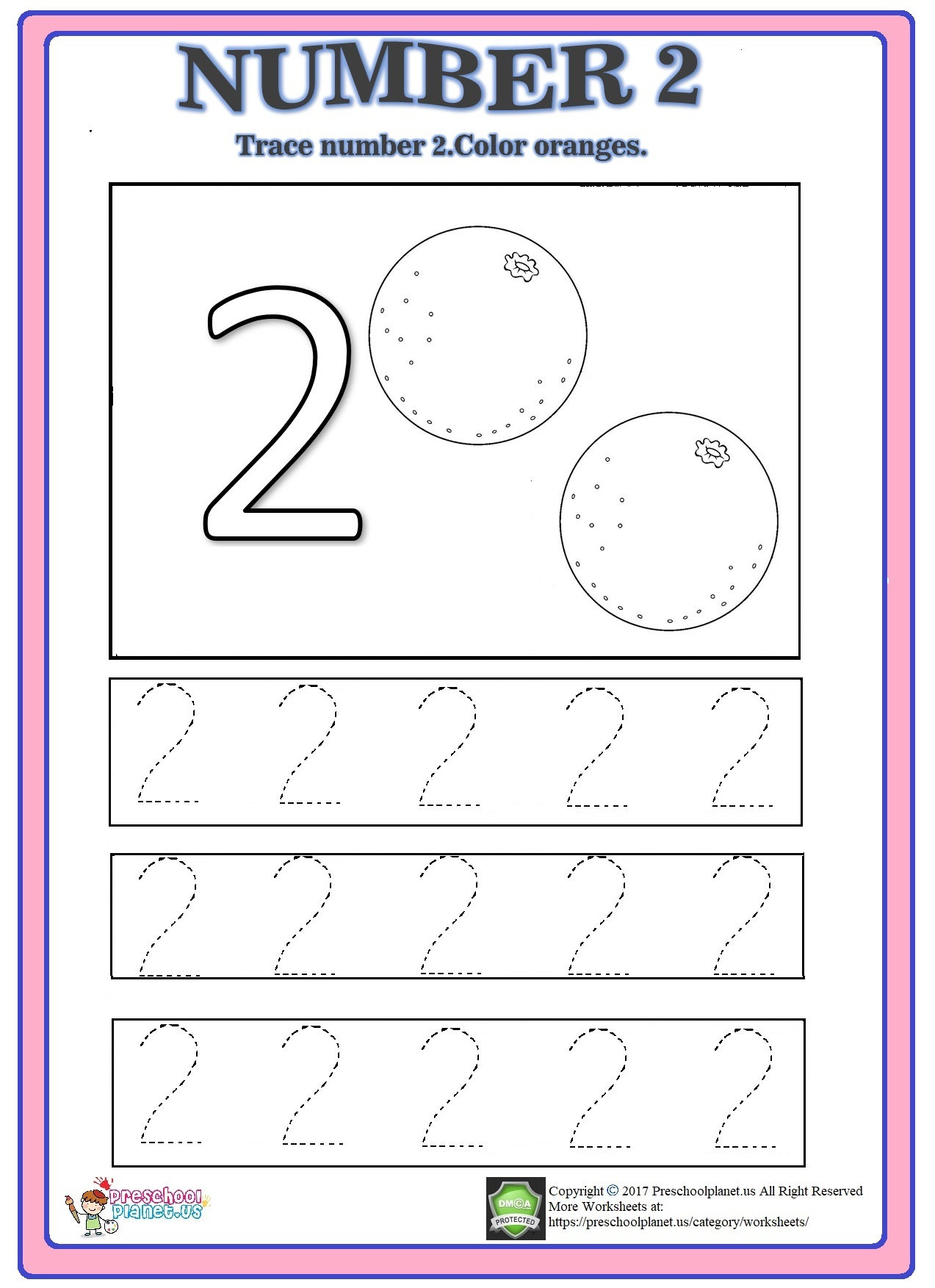 Number 2 Trace Worksheet – Preschoolplanet