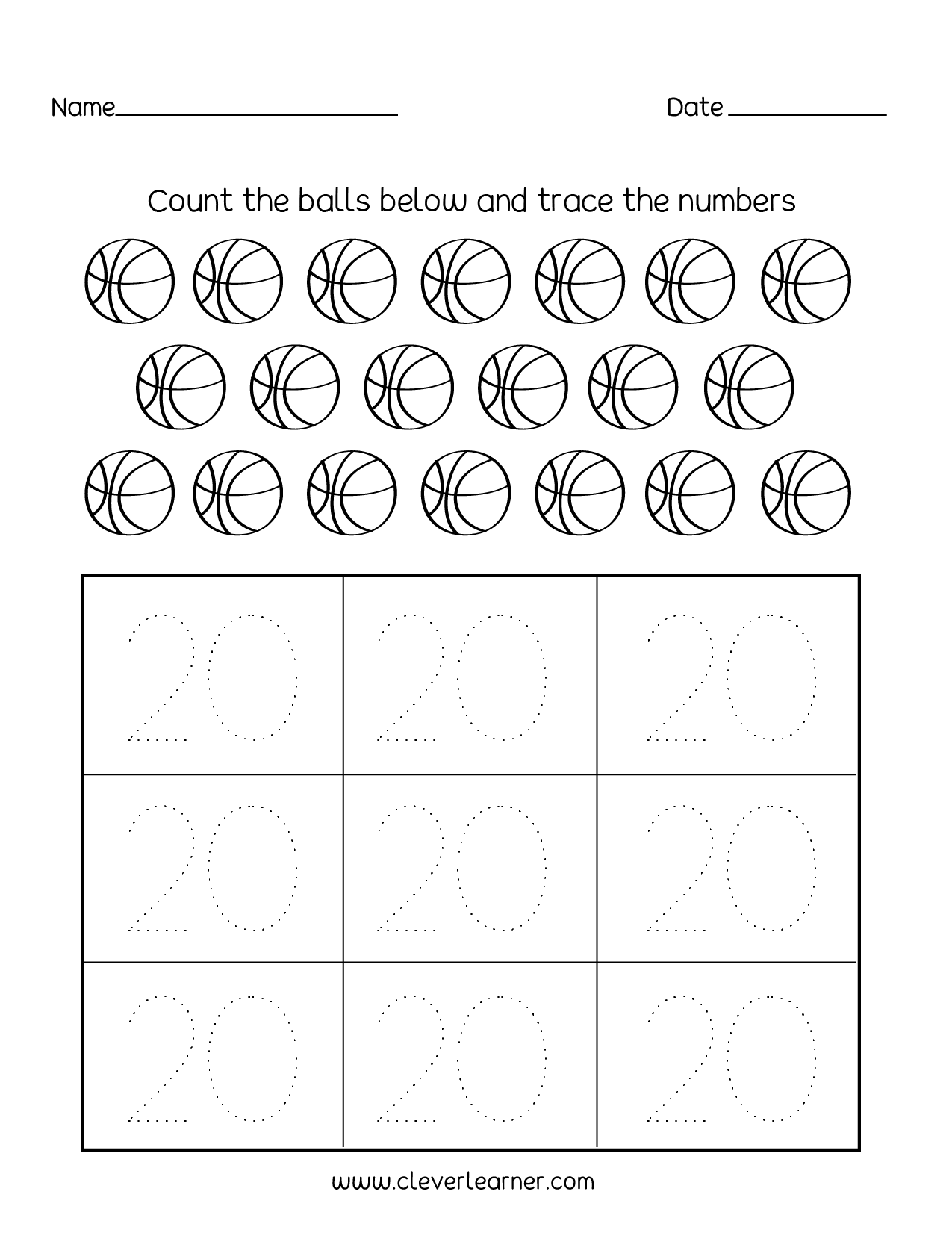 Number 20 Writing, Counting And Identification Printable