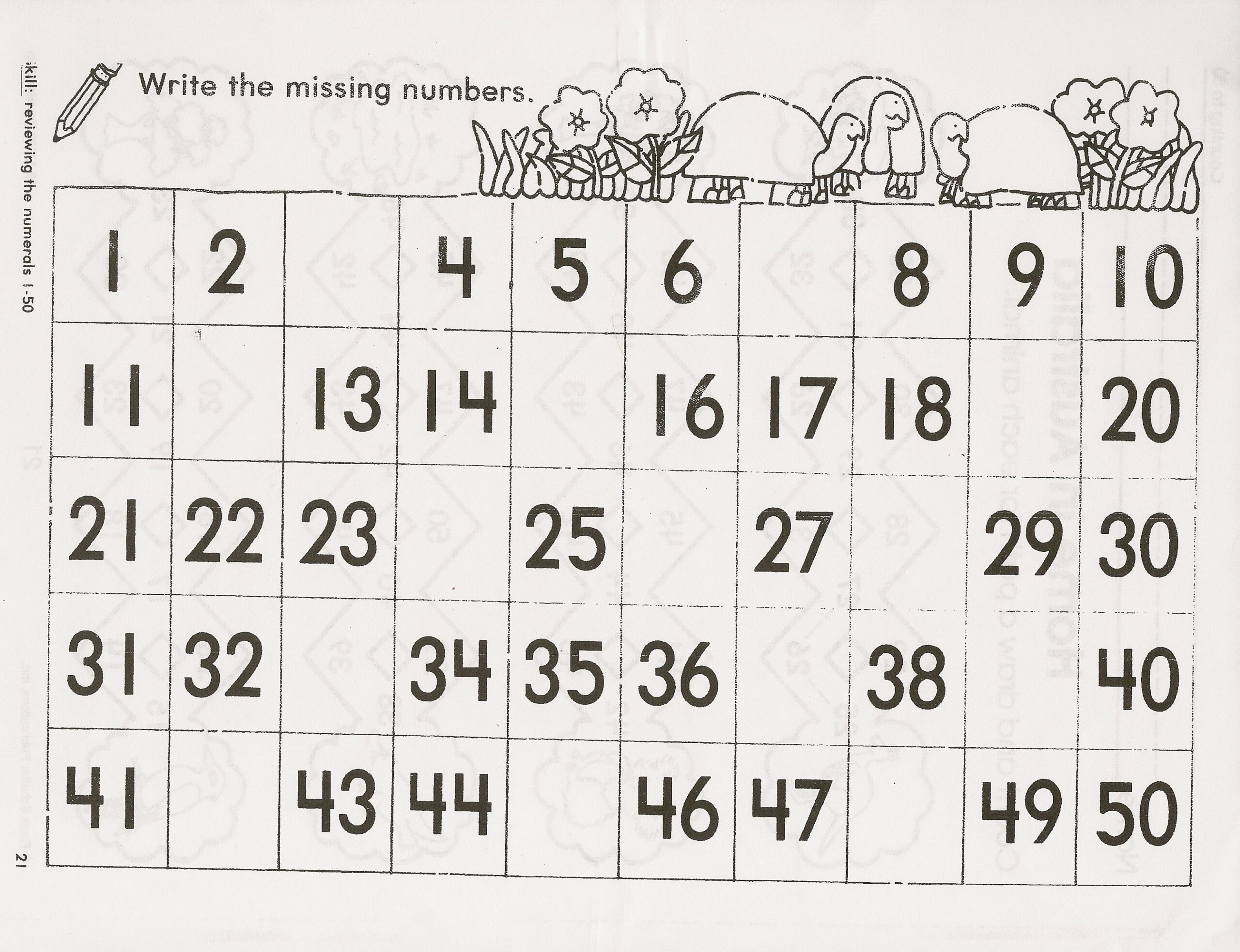 Number Charts To Print Activity Shelter Tracing Numbers For