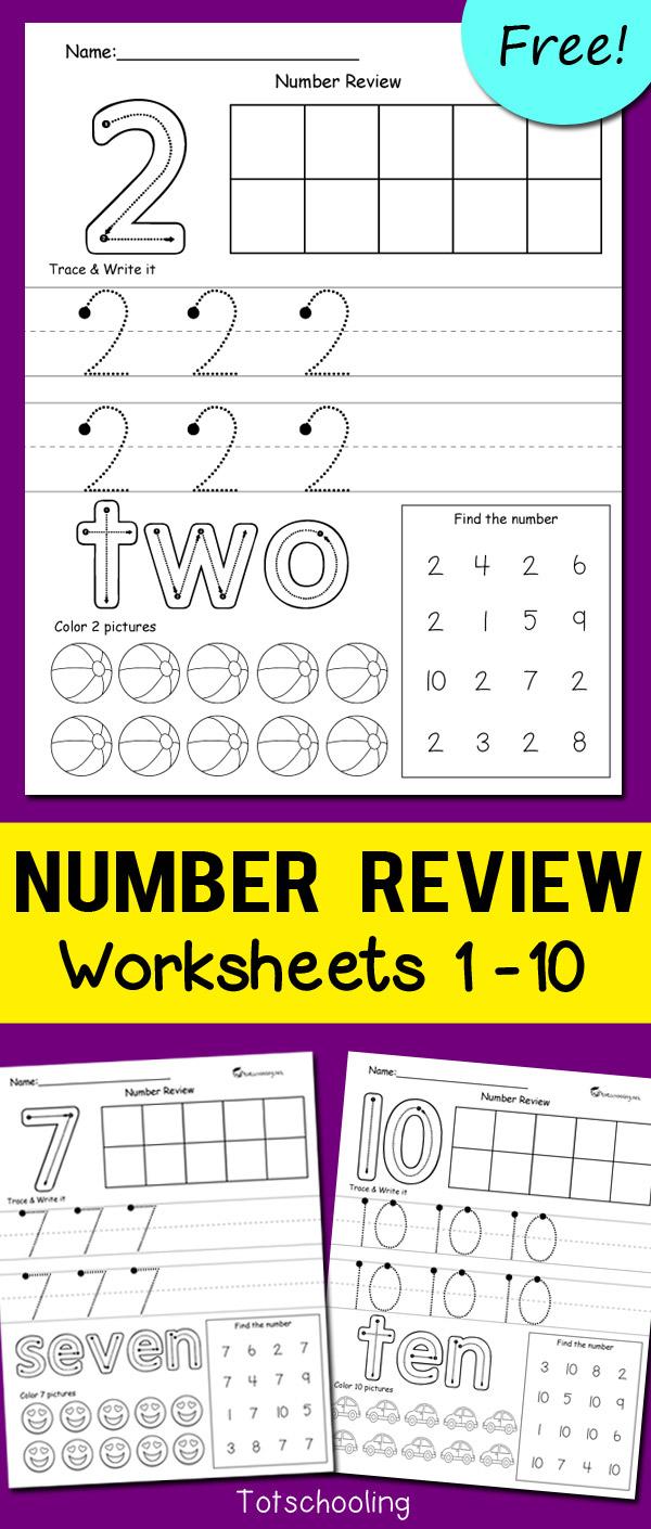 Number Review Worksheets | Totschooling - Toddler, Preschool