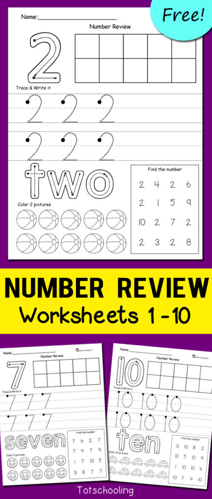 Number Review Worksheets | Totschooling   Toddler, Preschool
