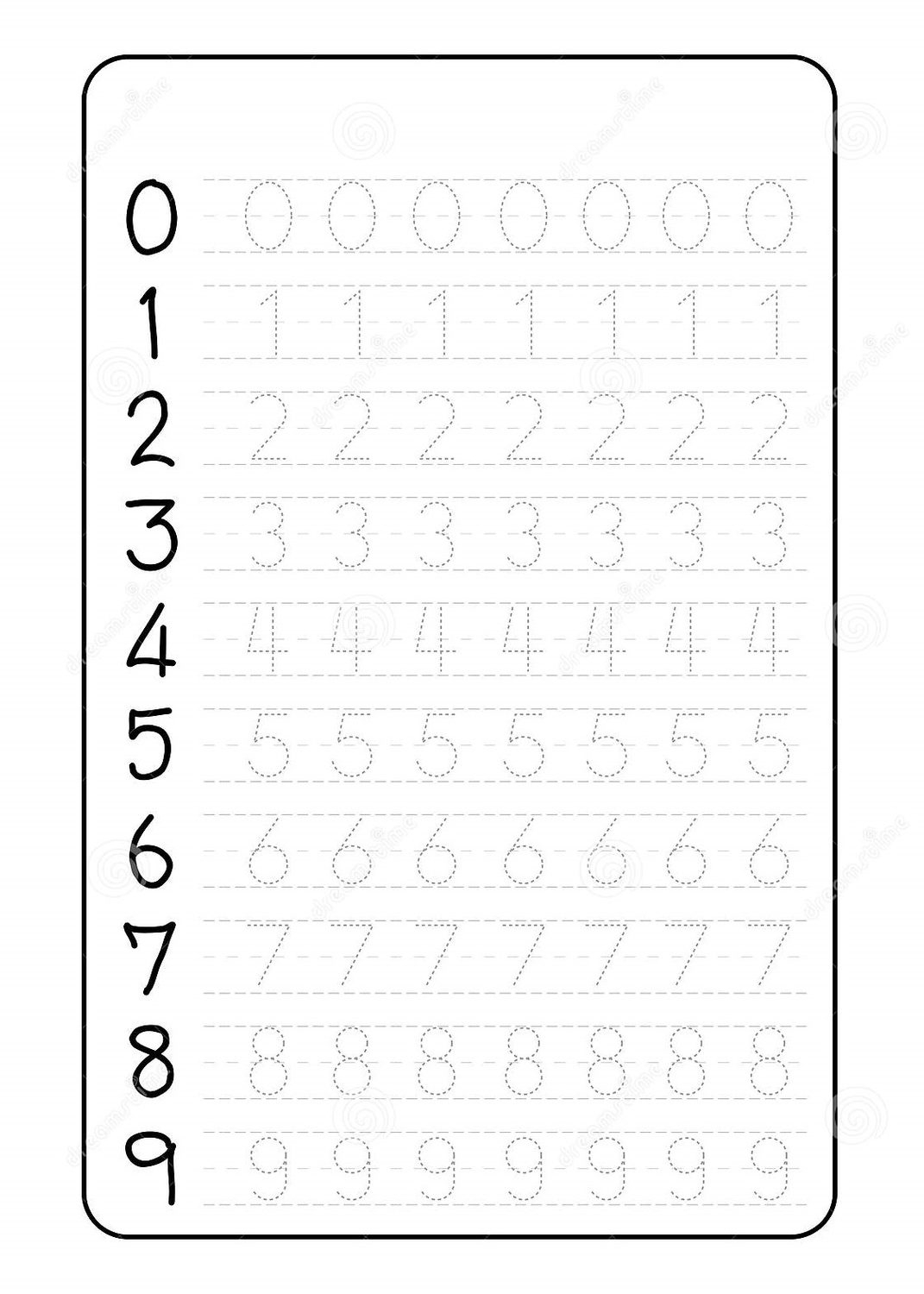 Number Trace Worksheets Tracing For Preschool Grade Word
