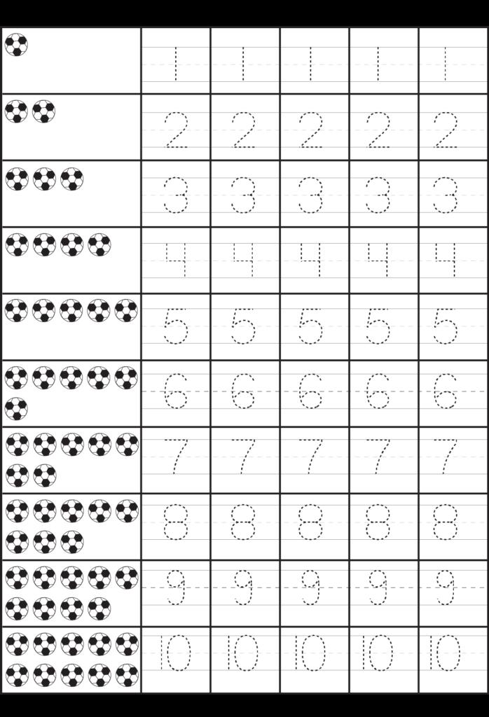 Number Tracing – 1 10 – Worksheet | Free Preschool