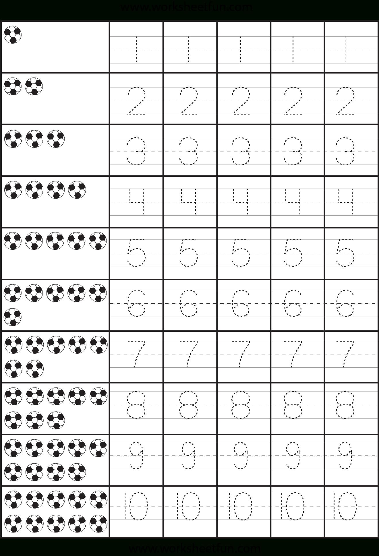 Number Tracing – 1-10 – Worksheet | Free Preschool