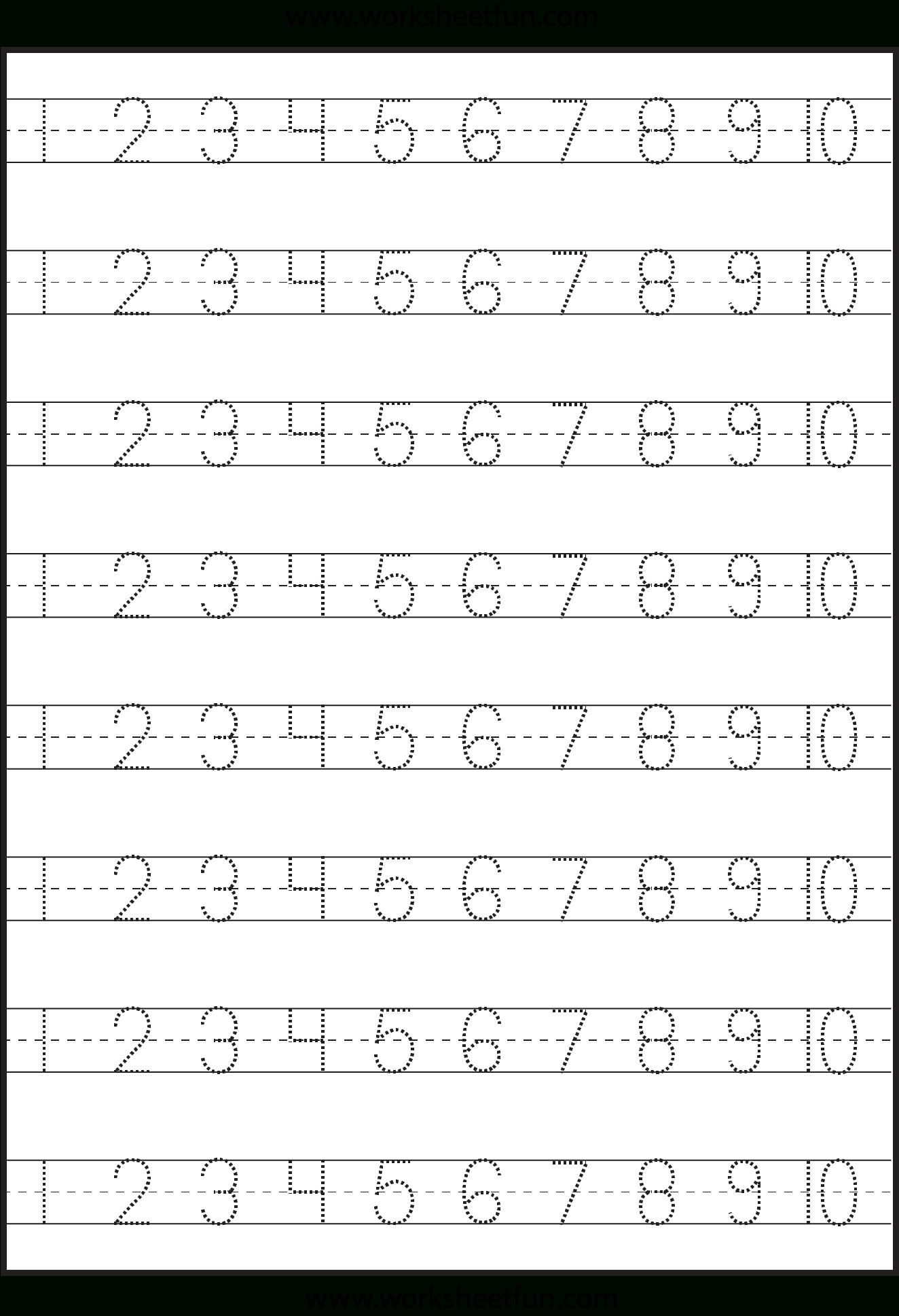 Number Tracing – 1-10 – Worksheet / Free Printable