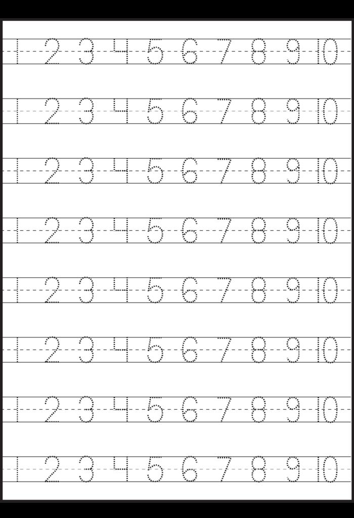 Number Tracing – 1 10 – Worksheet / Free Printable Regarding Alphabet Tracing Worksheets 1 20 Pdf