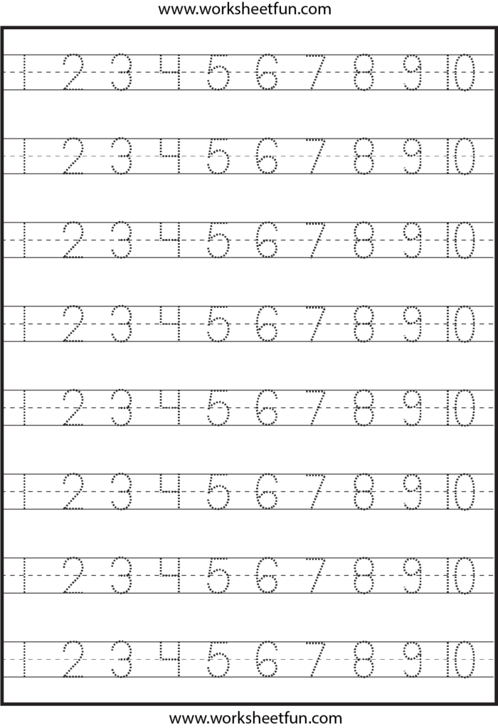 Number Tracing – 1 10 – Worksheet / Free Printable With Regard To Letter 10 Worksheets