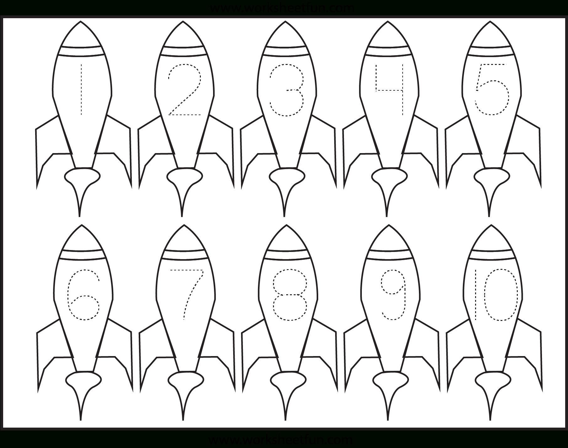 Number Tracing – 1 Worksheet | Space Preschool, Space Theme