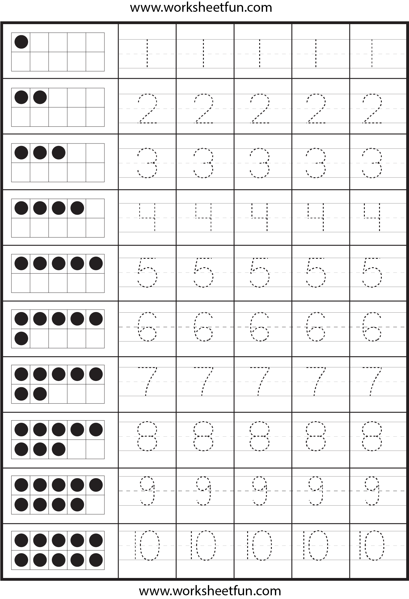 Number Tracing – 2 Worksheets / Free Printable Worksheets