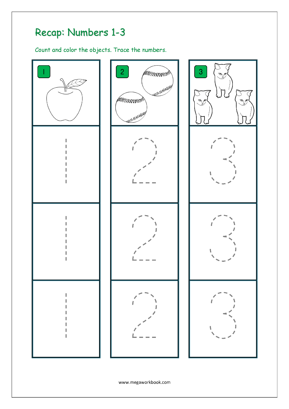 Number Tracing - Tracing Numbers - Number Tracing Worksheets