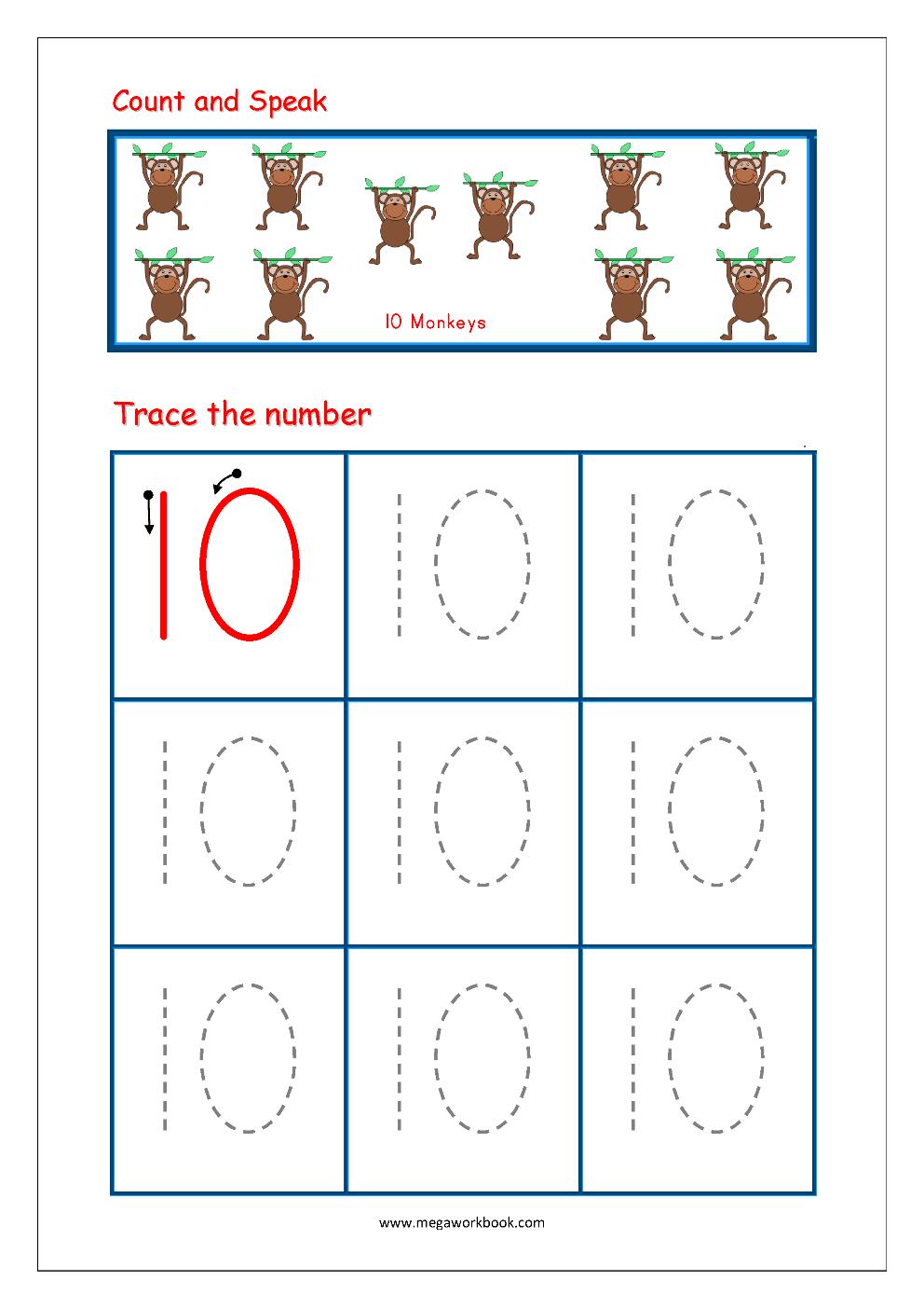 Number Tracing - Tracing Numbers - Number Tracing Worksheets for Alphabet Tracing Worksheets 1-10 Pdf