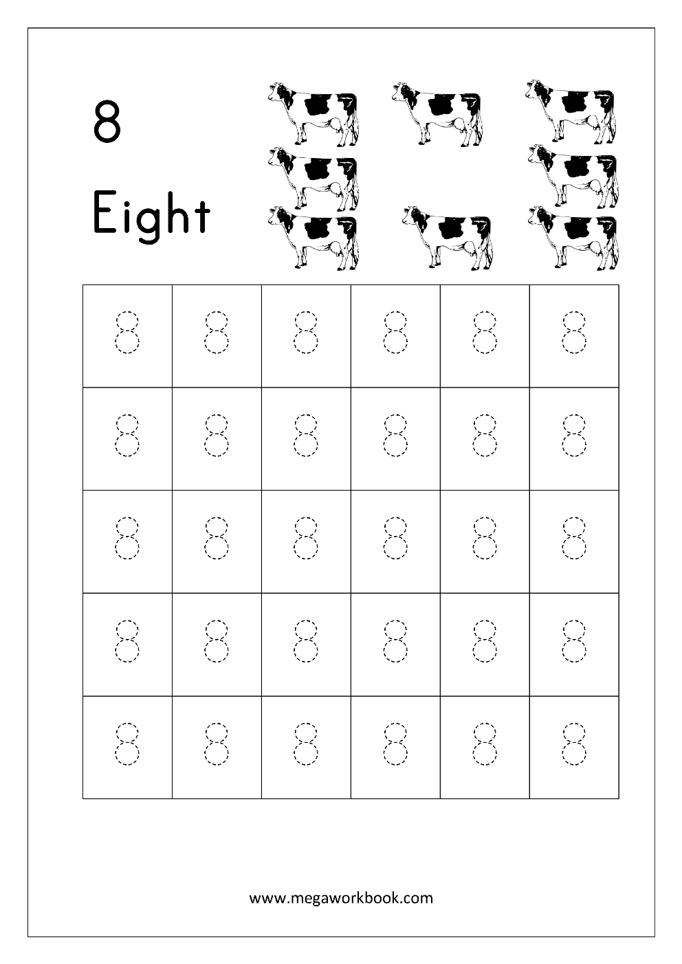 Number Tracing - Tracing Numbers - Number Tracing Worksheets in Letter 8 Tracing