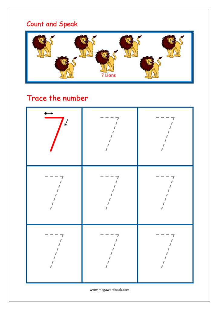 Number Tracing   Tracing Numbers   Number Tracing Worksheets Pertaining To Letter 7 Worksheets