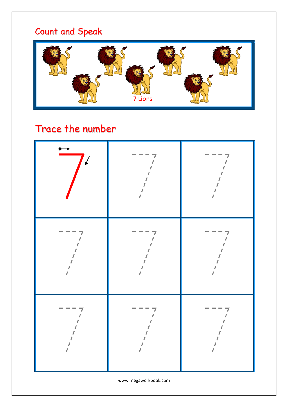 Number Tracing - Tracing Numbers - Number Tracing Worksheets pertaining to Letter 7 Worksheets