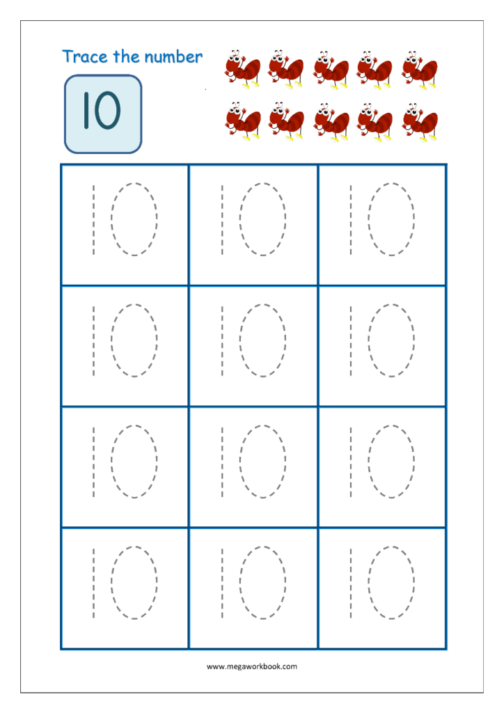 Number Tracing   Tracing Numbers   Number Tracing Worksheets With Letter 10 Worksheets