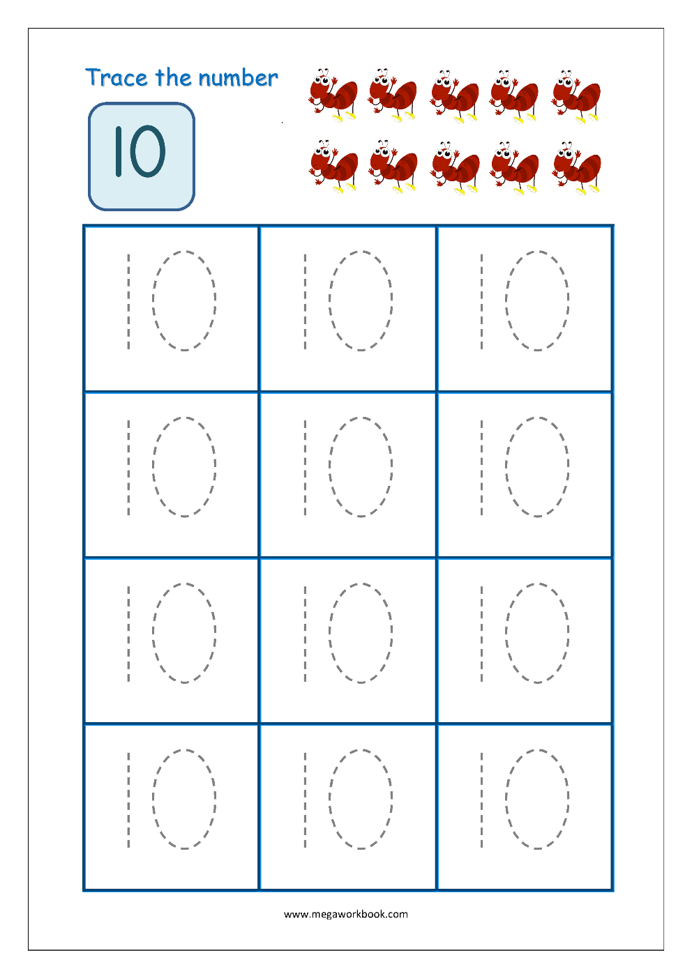 Number Tracing - Tracing Numbers - Number Tracing Worksheets with Letter 10 Worksheets