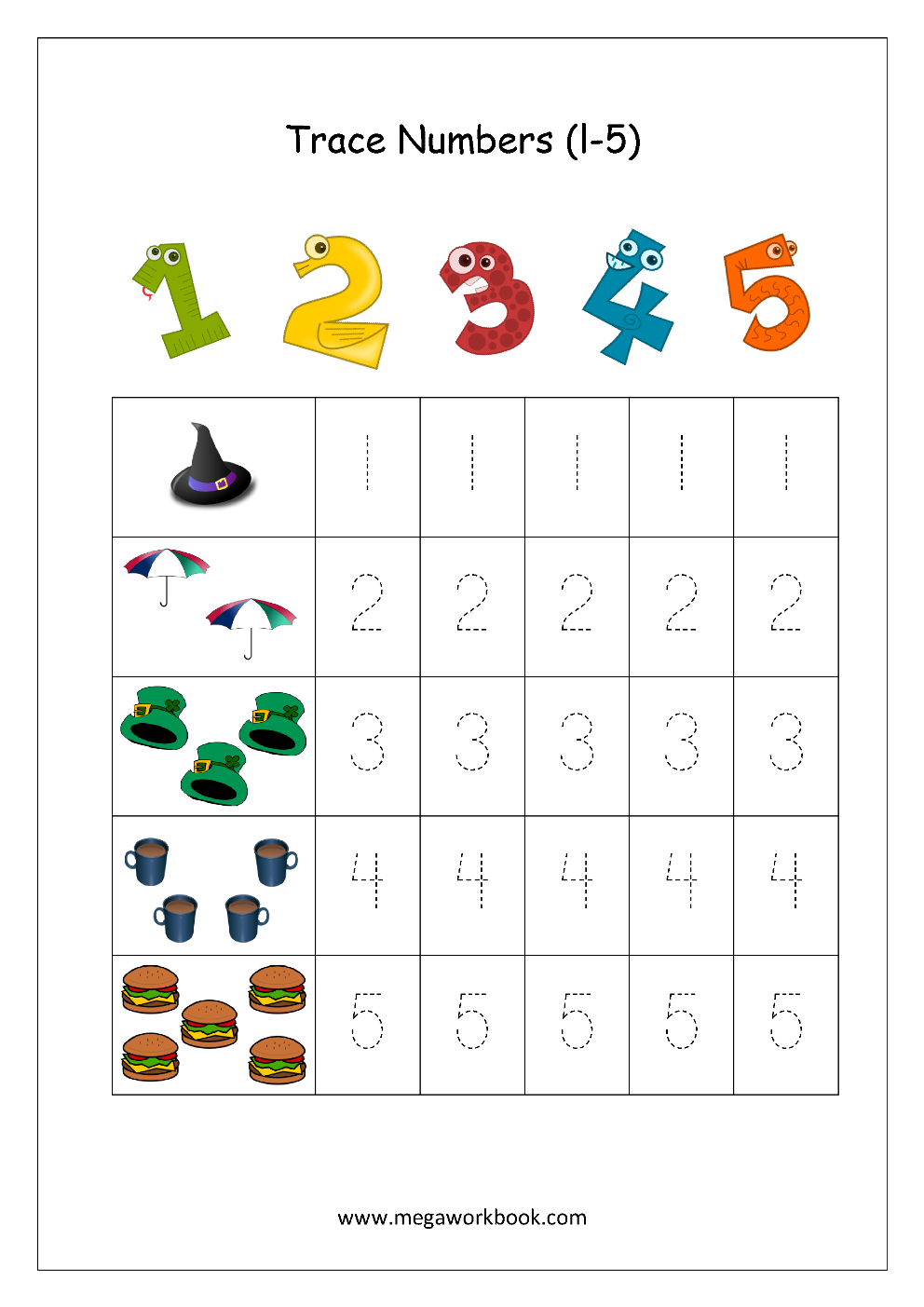 Number Tracing - Tracing Numbers - Number Tracing Worksheets with Letter 5 Tracing