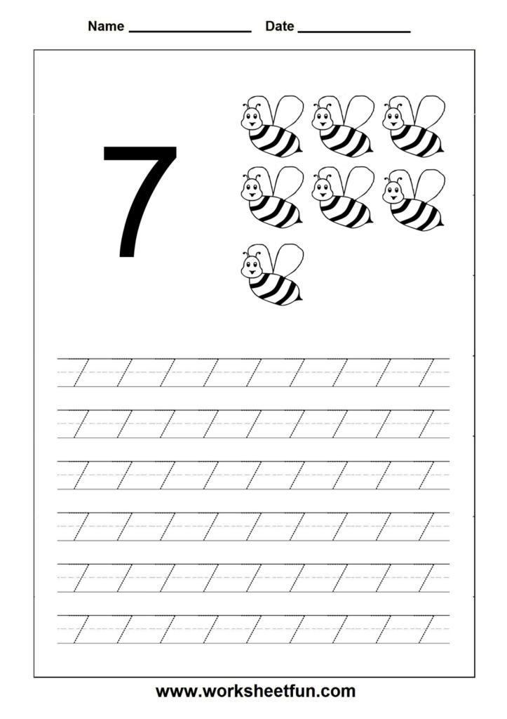 Number Tracing Worksheet   7 | Numbers Preschool, Tracing