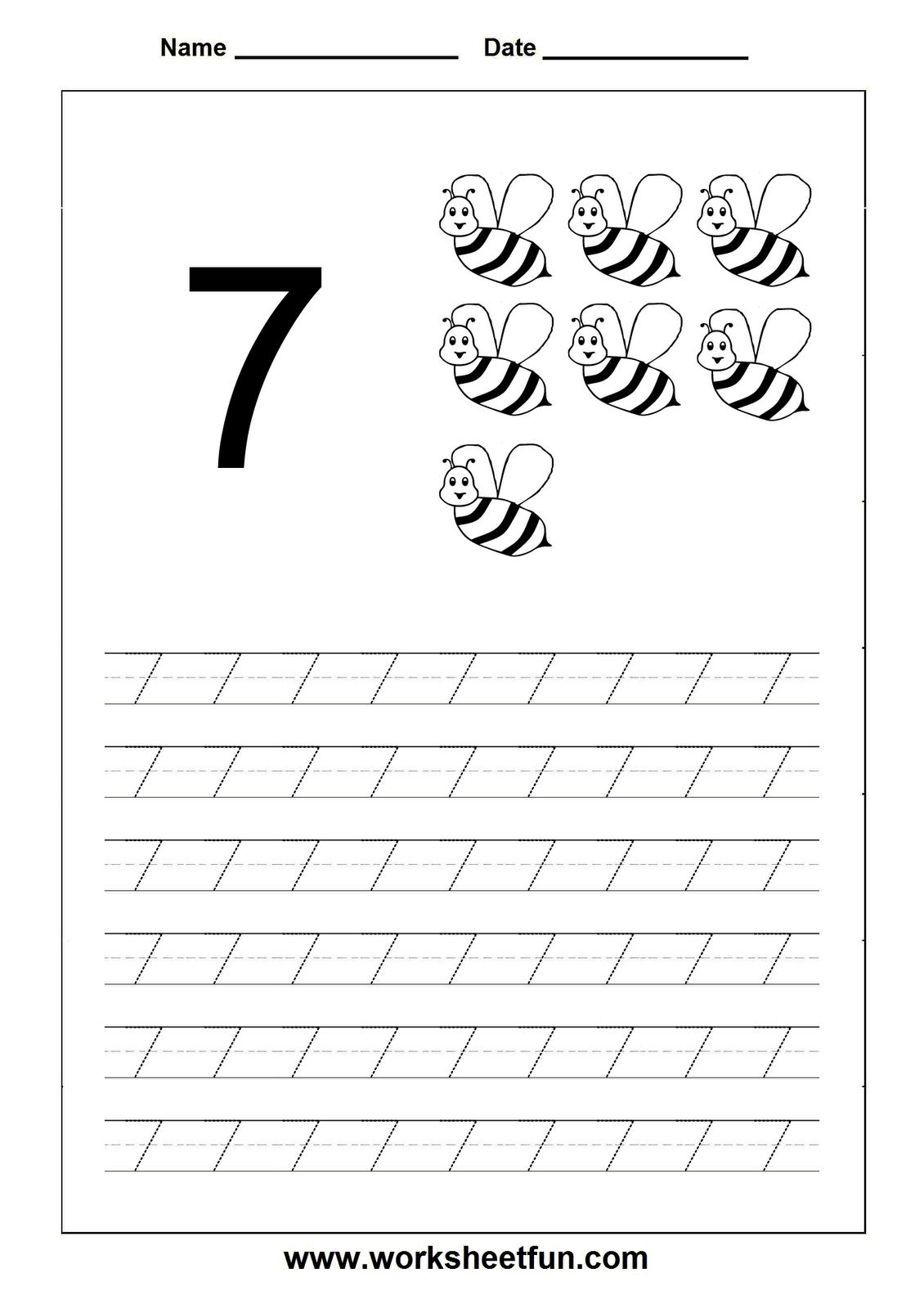 Number Tracing Worksheet - 7 | Numbers Preschool, Tracing