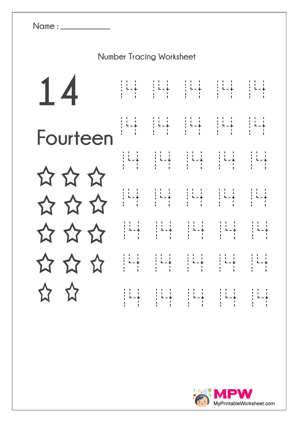 Number Tracing Worksheets 1-20, Dotted Line Number Tracing 1-10