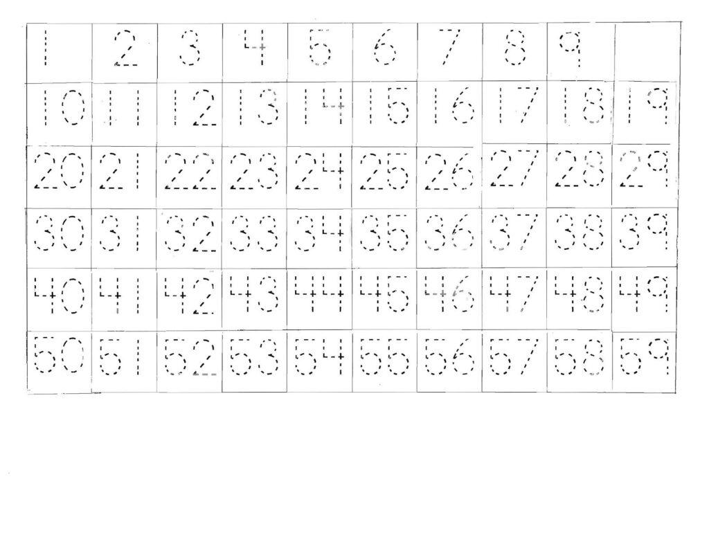 Number Tracing Worksheets 1 50   Printable Worksheets And