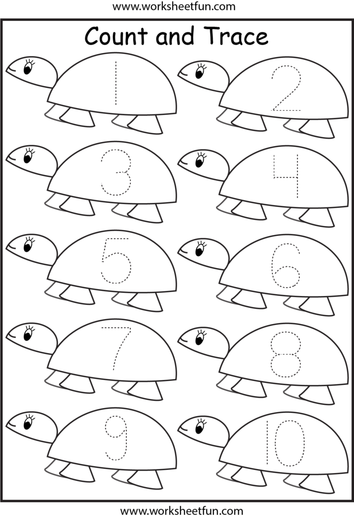 Number Tracing Worksheets For Kindergarten  1 10 – Ten