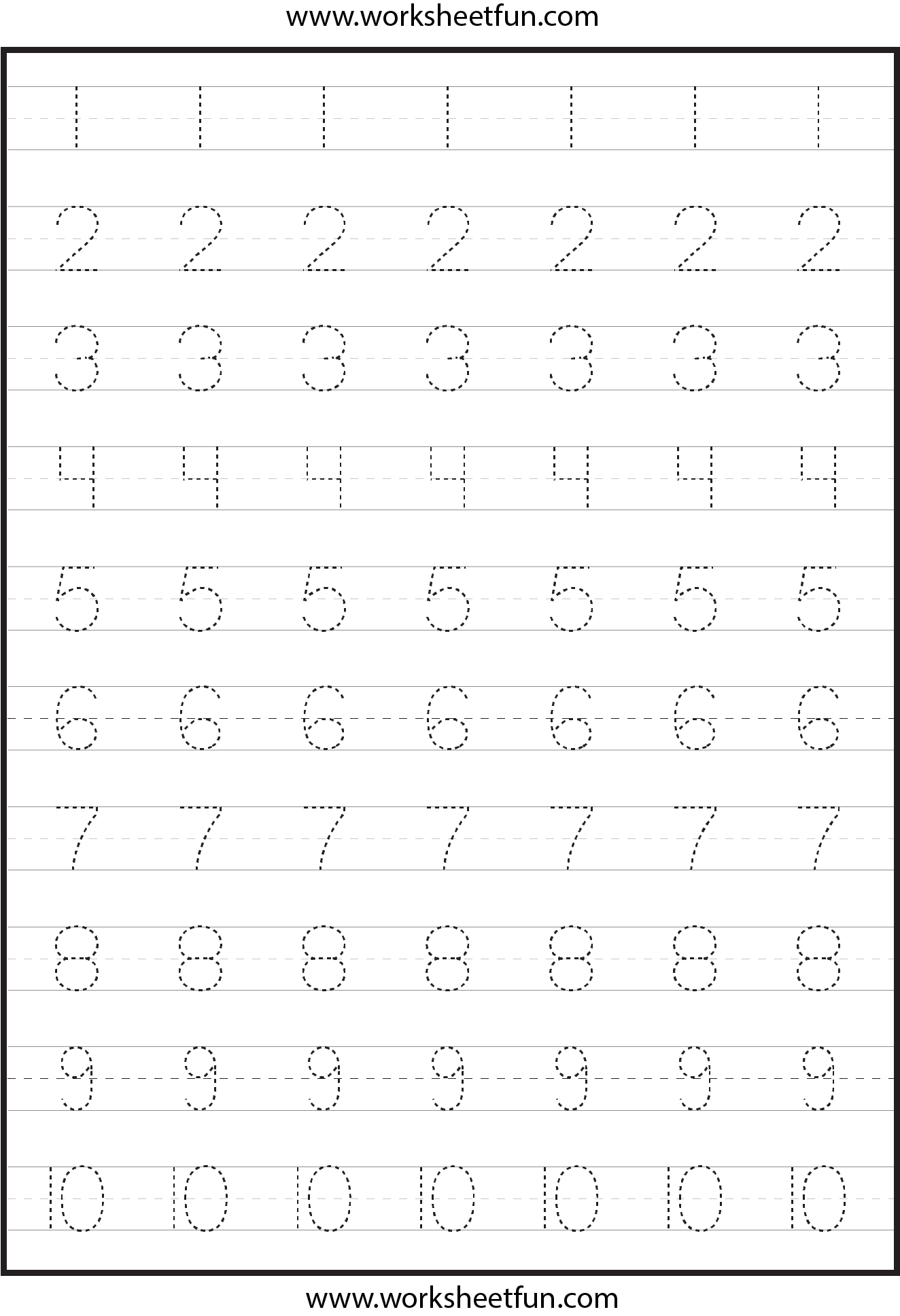 Number Tracing Worksheets For Kindergarten- 1-10 – Ten
