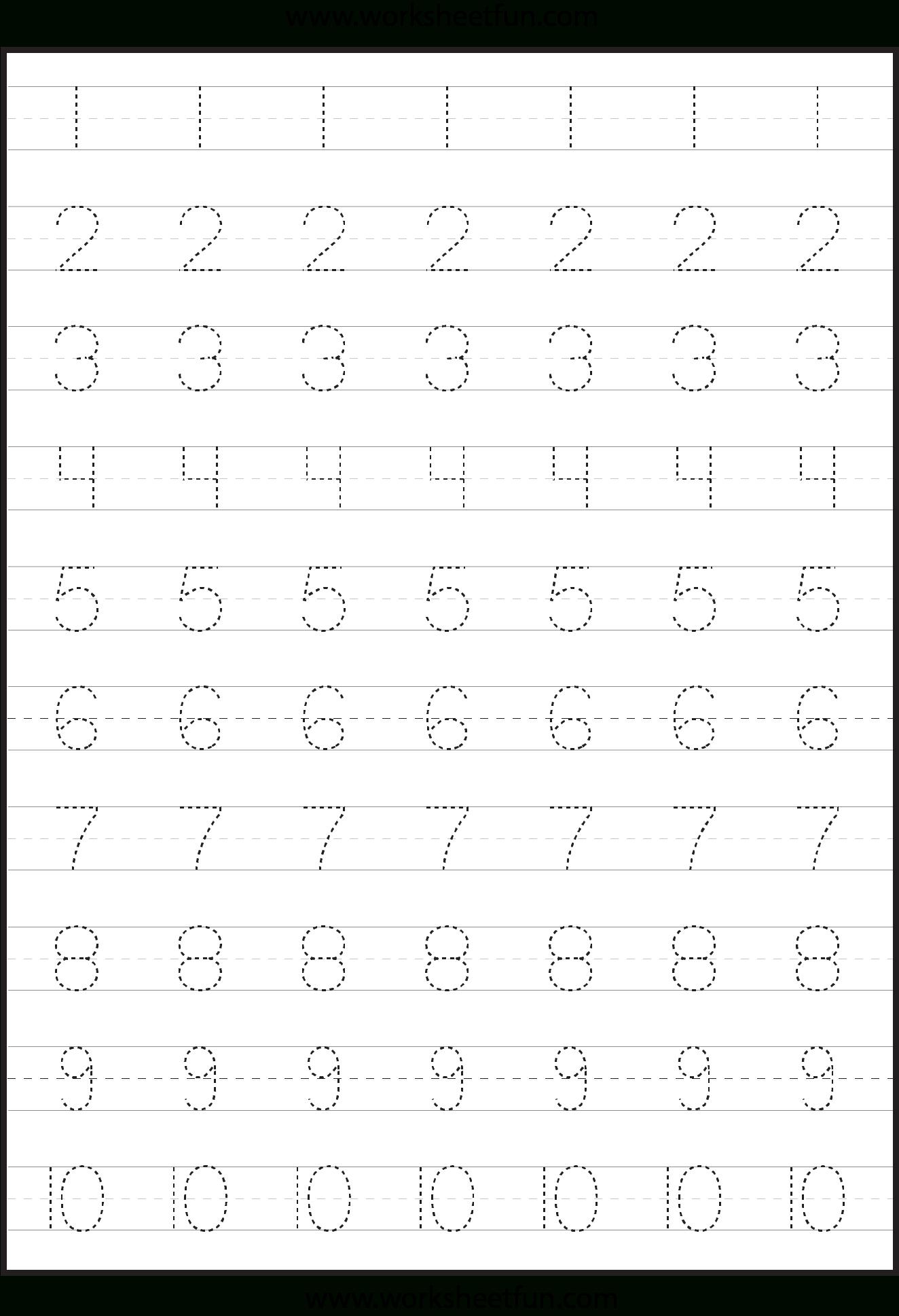 Number Tracing Worksheets For Kindergarten- 1-10 – Ten