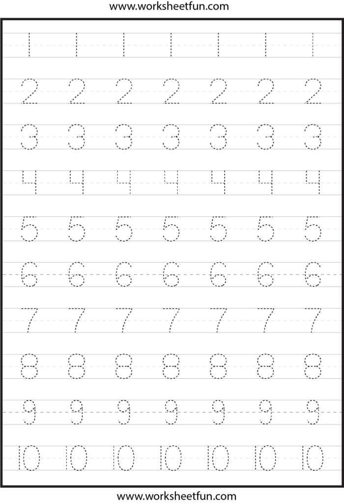 Number Tracing Worksheets For Kindergarten  1 10 – Ten Regarding Alphabet Tracing Worksheets 1 10 Pdf