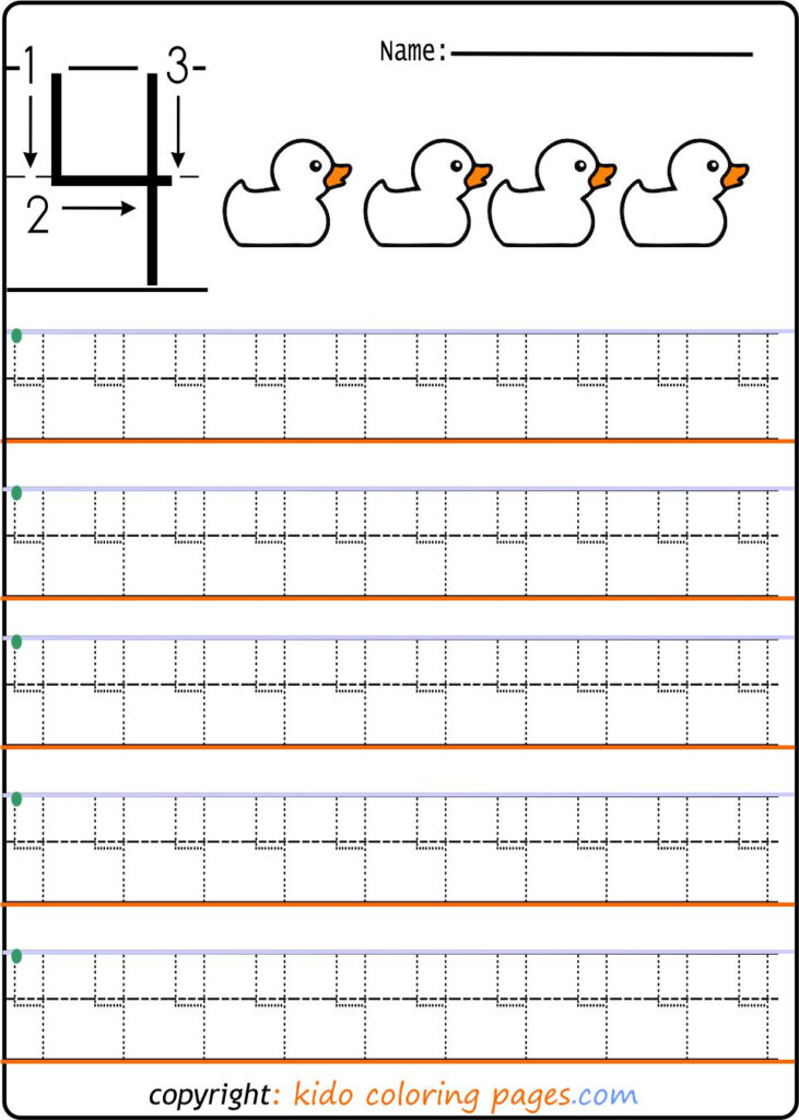 Number Tracing Worksheets For Preschool Kids Coloring