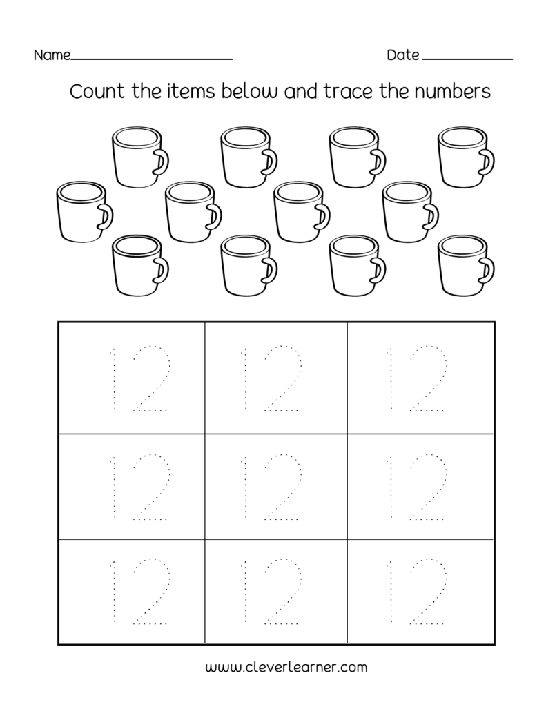 Number Twelve Writing, Counting And Identification Printable