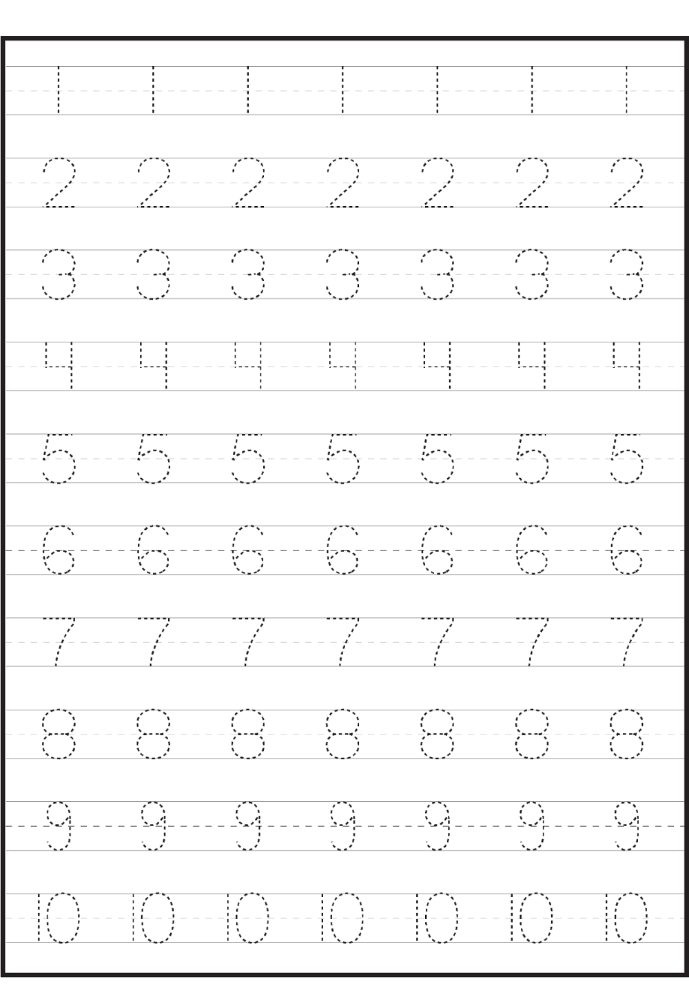 Number Worksheets For Children | Tracing Worksheets
