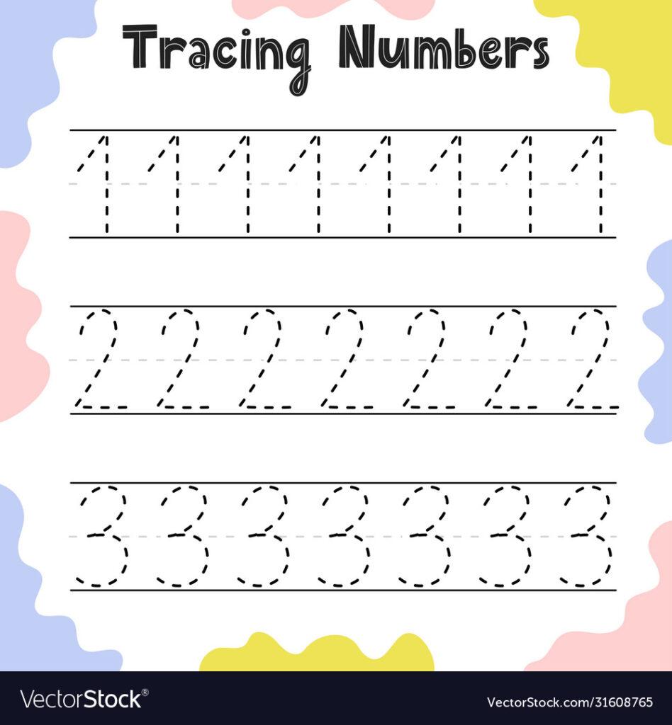 Numbers 1 2 3 Tracing Practice Worksheet
