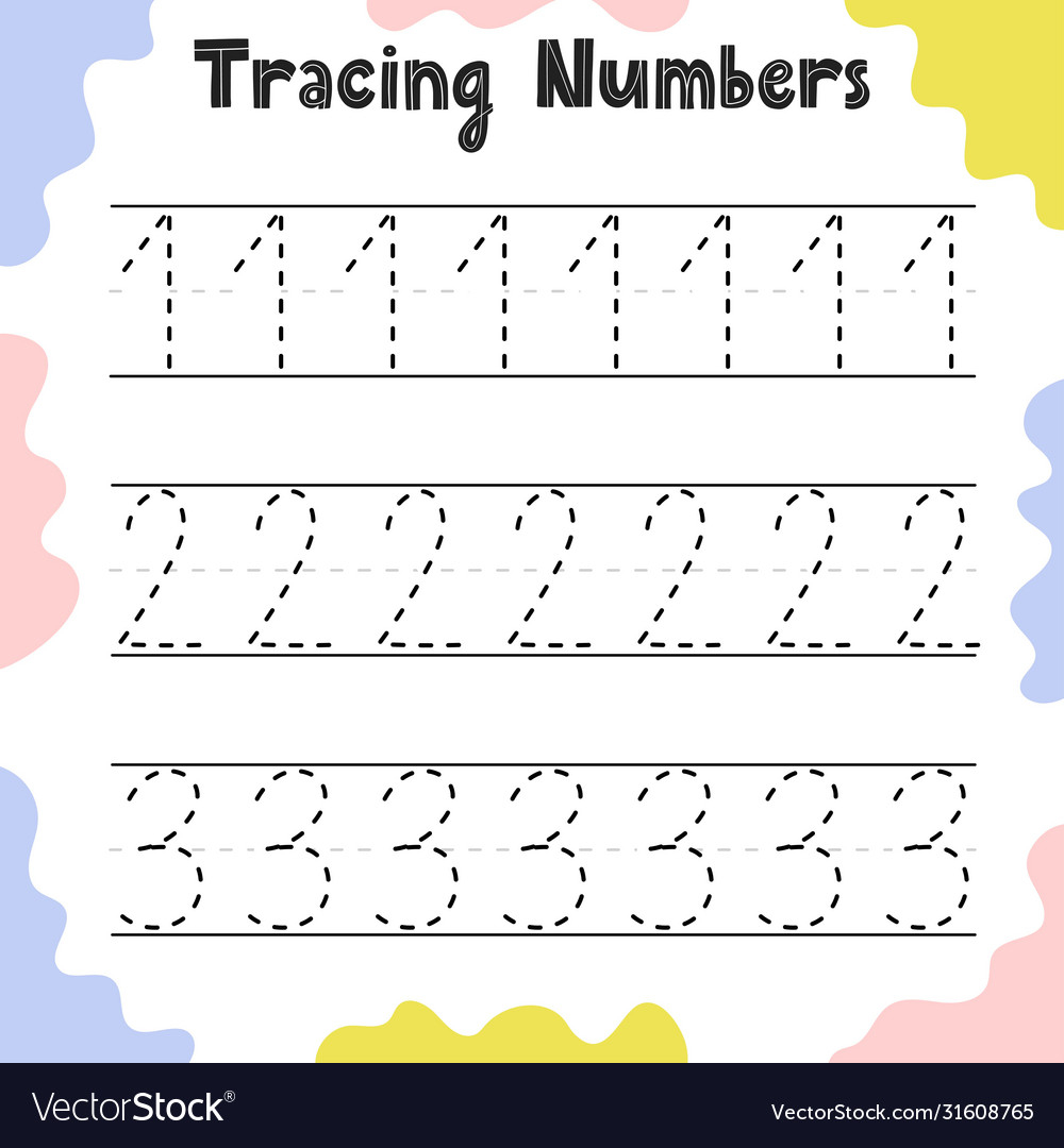 Numbers 1 2 3 Tracing Practice Worksheet