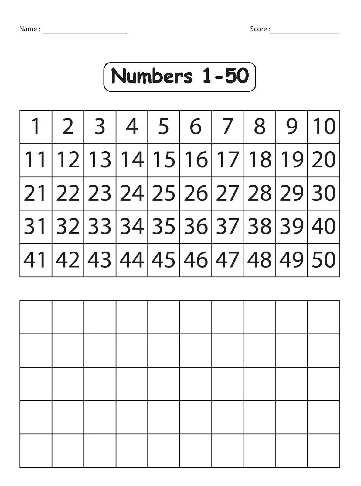 Numbers 1 50 Worksheets | Kids Activities