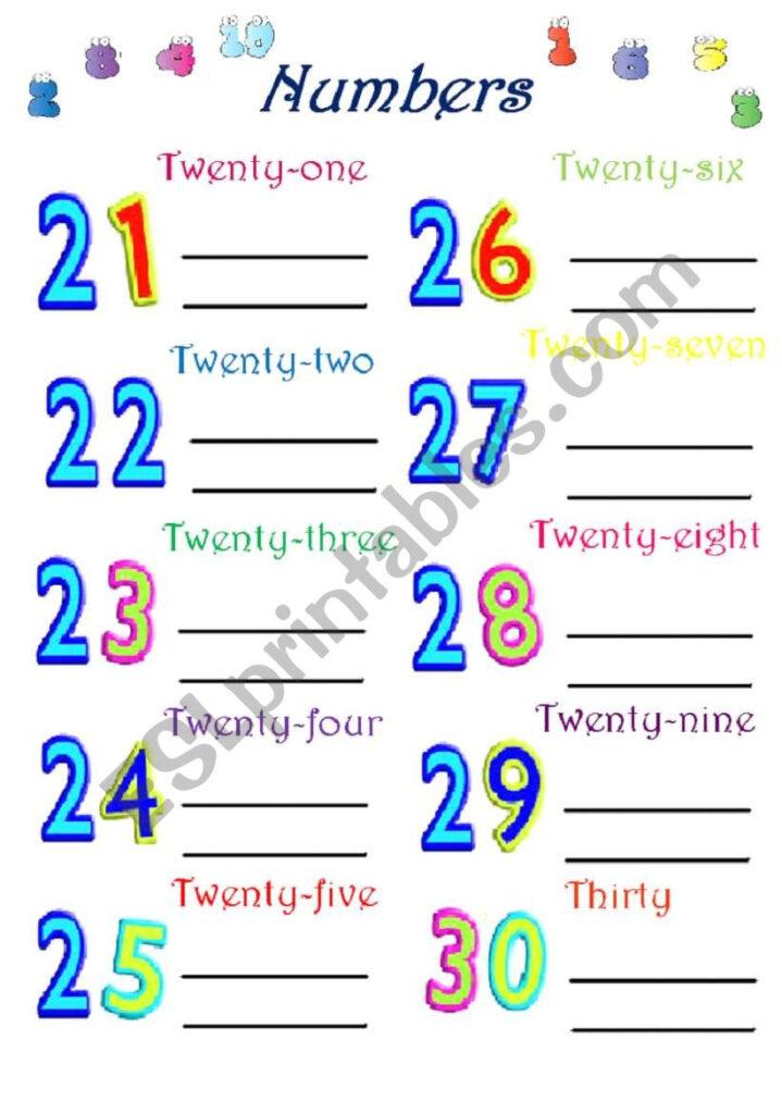 Numbers 21 30   Esl Worksheethavva Kizmaz
