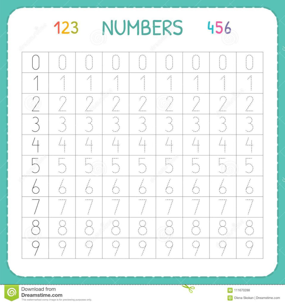Numbers For Kids. Worksheet For Kindergarten And Preschool