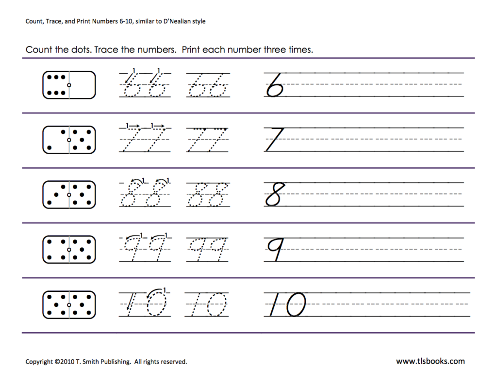 Numbers Tracing: 6 10   Kindergarten Math Worksheets