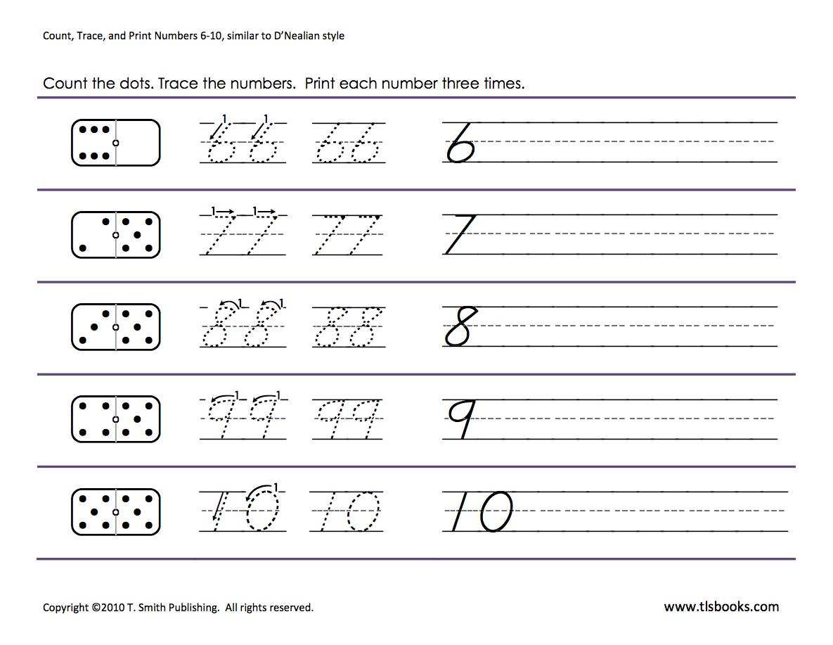 Numbers Tracing: 6-10   Kindergarten Math Worksheets